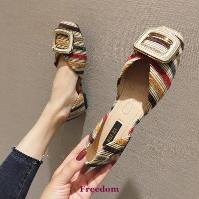 Freedom女鞋歐美風春夏季2019新款女鞋子大碼時尚布面淺口方頭平跟平底單鞋女