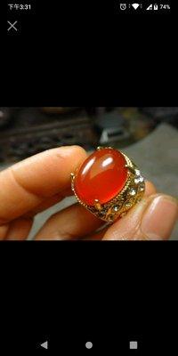 南紅玉髓 鑲鑽包台 戒指