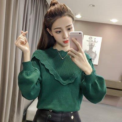 秋冬新款韩版宽松长袖套头毛衣外套女灯笼袖针织打底衫荷叶边上衣