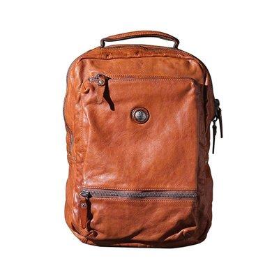 後背包真皮雙肩包-復古棕色植鞣牛皮男女包包73vz43[獨家進口][米蘭精品]