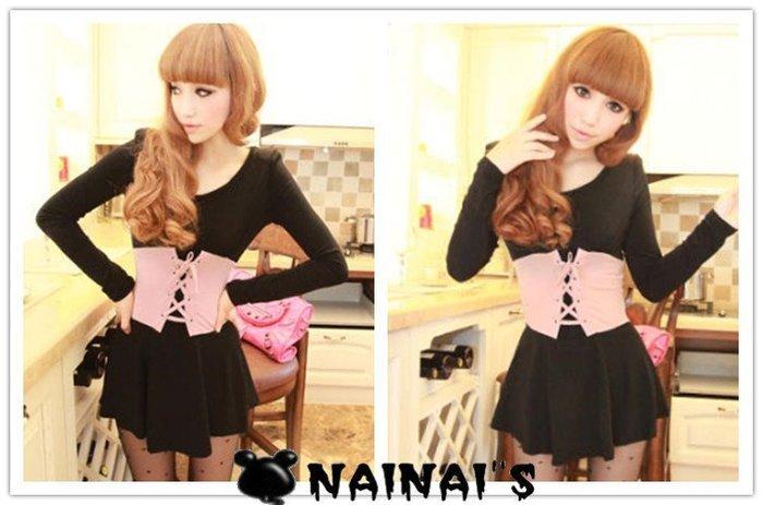 【NAINAIS】3897 韓版 夜店跑趴 拼色芭比綁帶假腰封公主裙洋裝 黑色 現貨