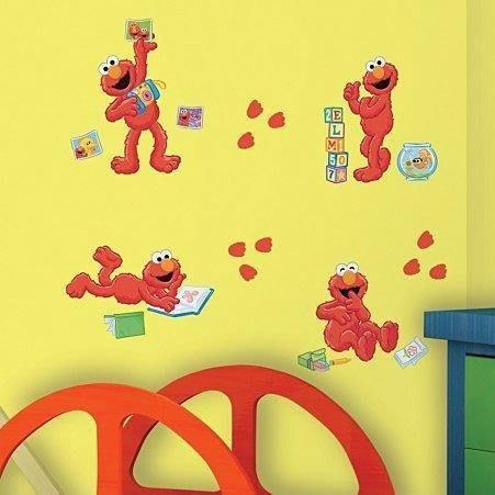 【KIDS FUN USA】RoomMates芝麻街 經典卡通Sesame Street Elmo 防水DIY重複壁貼