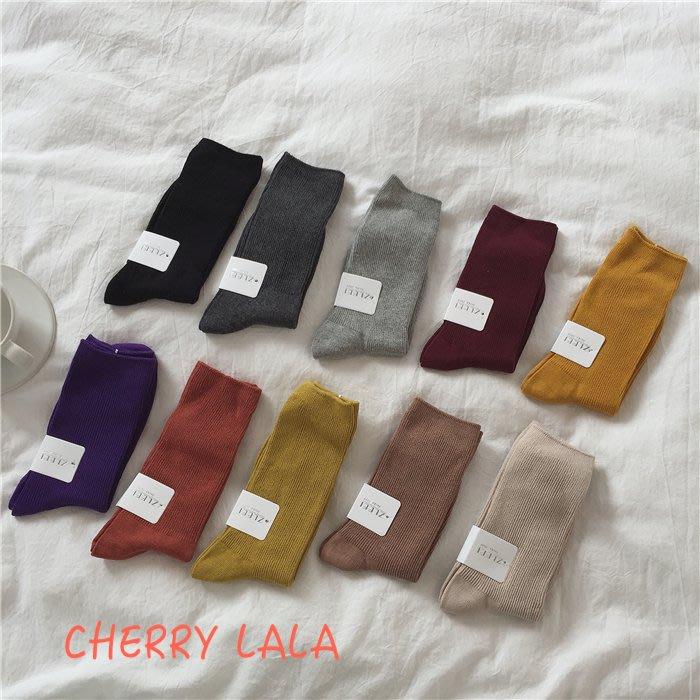 CHERRY LALA 韓。實拍。19秋。凹型好搭配的素色堆堆襪男女都好穿的短襪子  MU601