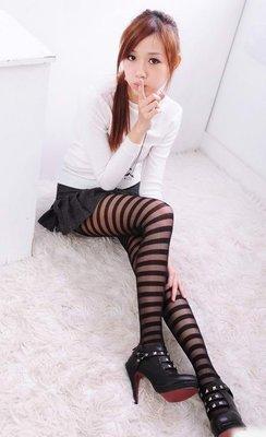 ~玫瑰 襪館~國際美妝 的超彈性立體條紋斑馬紋透膚絲襪顯瘦修飾美腿無感褲襪,性感 款, 中~