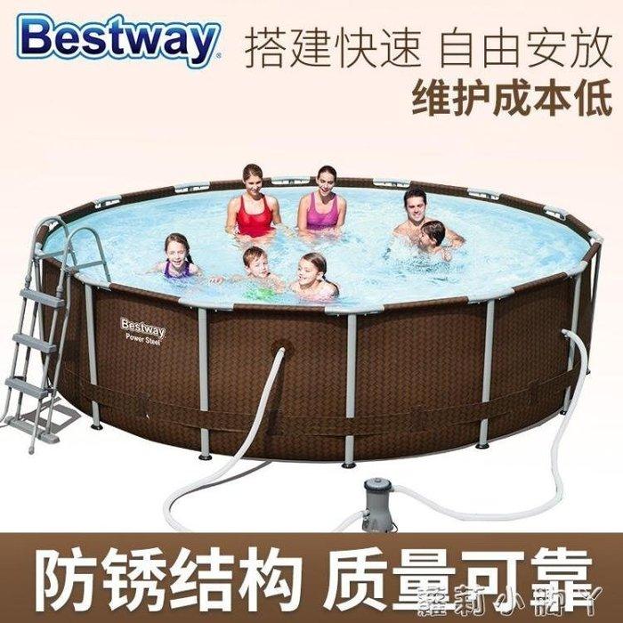【不二藝術】加大成人游泳池 加高加厚家庭 寶寶充氣游泳池兒童游泳池 427*107cm圓形配BYYS181