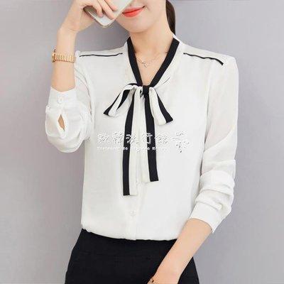 長袖雪紡上衣  蝴蝶結繫帶V領白色襯衣打底上衣長袖雪紡襯衫女韓版