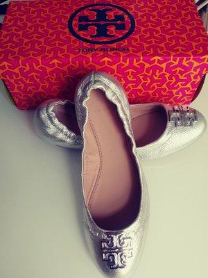 Tory Burch Melinda Ballet銀色真皮芭蕾平底鞋
