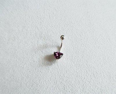 7mm三角紫鑽・肚臍環 925純銀