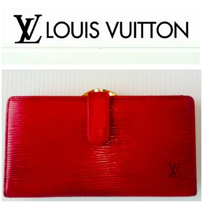 Louise Vuitton 發財夾 EPI 蝴蝶扣 零錢包 紅色 LV 長夾 有BV (MIxx91)