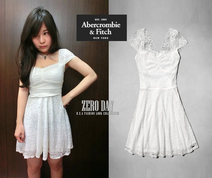 A&F Abercrombie&Fitch Gillian Lace Skater Dress短袖蕾絲女神白洋裝尾牙春酒