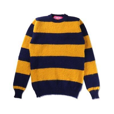 Freaky House-比利時Howlin Shaggy Bear粗條紋限量溫暖圓領毛衣黃藍中性款