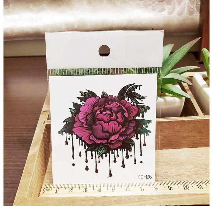 【萌古屋】】紅色花朵 - 手背防水紋身貼紙刺青貼紙CD-136 K12
