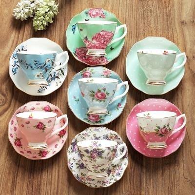 骨瓷家用咖啡杯歐式杯碟套裝英式花茶下午茶茶具杯子陶瓷帶勺禮盒