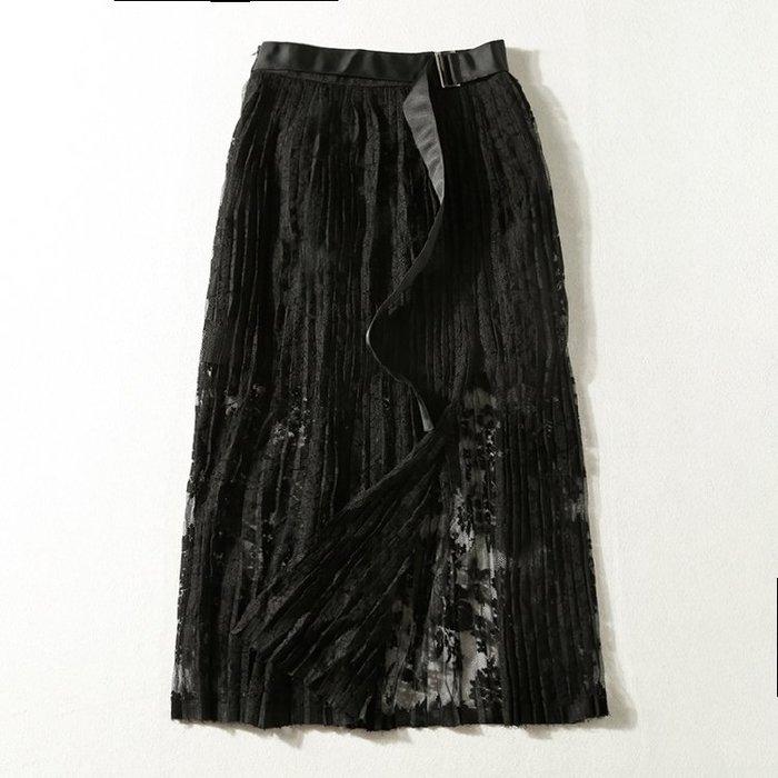 A173 專櫃柔軟網紗拼接鬆緊腰修身顯瘦百褶裙蛋糕裙半身裙