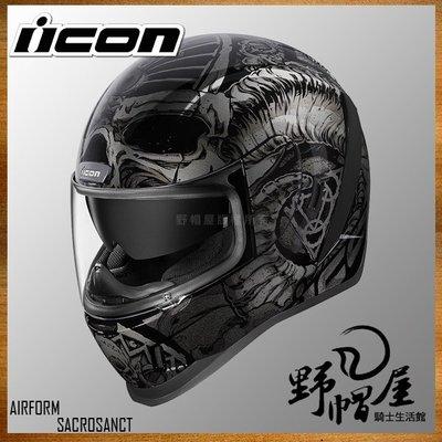 三重《野帽屋》美國 ICON AIRFORM 全罩 安全帽 吸濕排汗 內襯可拆 內墨片。SACROSANCT-BLACK
