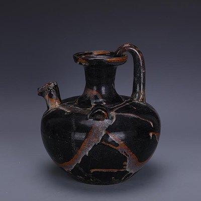 【三顧茅廬 】宋吉州窯手工瓷槓釉雙系雞頭壺 出土文物古瓷器古玩古董收藏