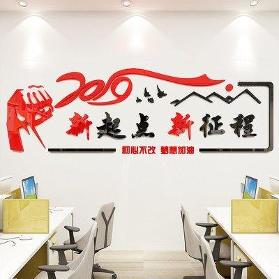 壁貼 壁畫 墻貼勵志標語墻貼辦公室裝飾貼紙企業文化墻公司背景墻布置新起點2019【最小尺寸】