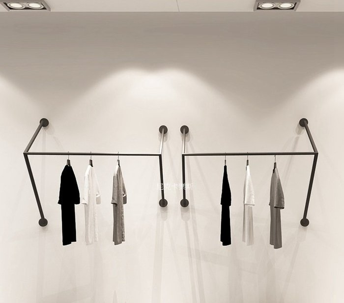 尼克卡樂斯 ~極簡鐵製工字型壁掛衣架 鐵製吊衣架 服飾店展示架 北歐極簡風吊衣桿 工業風掛衣架 服飾店壁掛衣架 壁掛衣桿