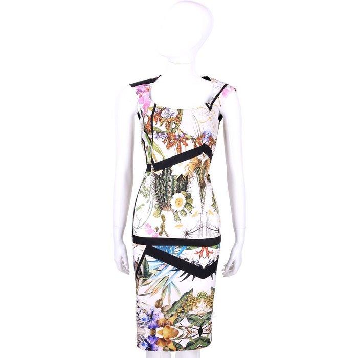 米蘭廣場 CLASS Roberto Cavalli 白色熱帶花卉圖騰短袖洋裝 1520560-20