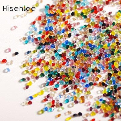 尖底透明彩色1.1mm 雙尖裸鑽 指甲鑽 美甲微鑽 水晶砂 玻璃鑽 diy閃鑽