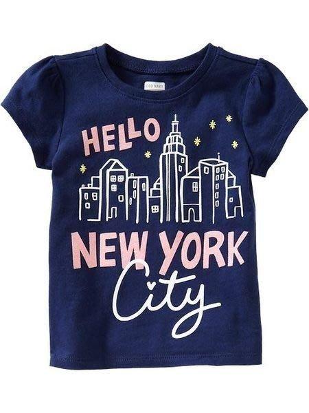 【Nichole's歐美進口優質童裝】Old navy 女童Hello New York 紐約星空 深藍 棉質短袖上衣