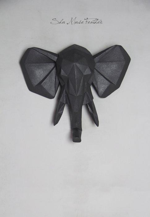 【曙muse】北歐幾何造型大象壁掛 北歐裝飾 (灰)簡約居家店家經典裝飾 loft 咖啡廳 民宿 餐廳 住家