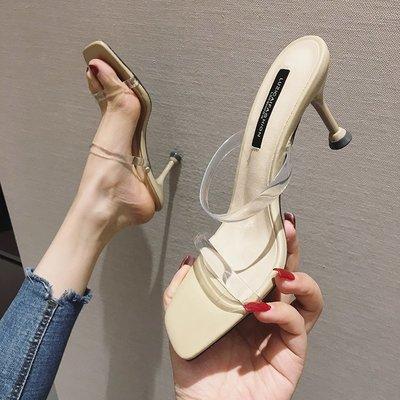 柒柒KR 正韓2019新款涼拖鞋女外穿氣質細跟透明露趾一字型拖鞋性感高跟鞋女夏
