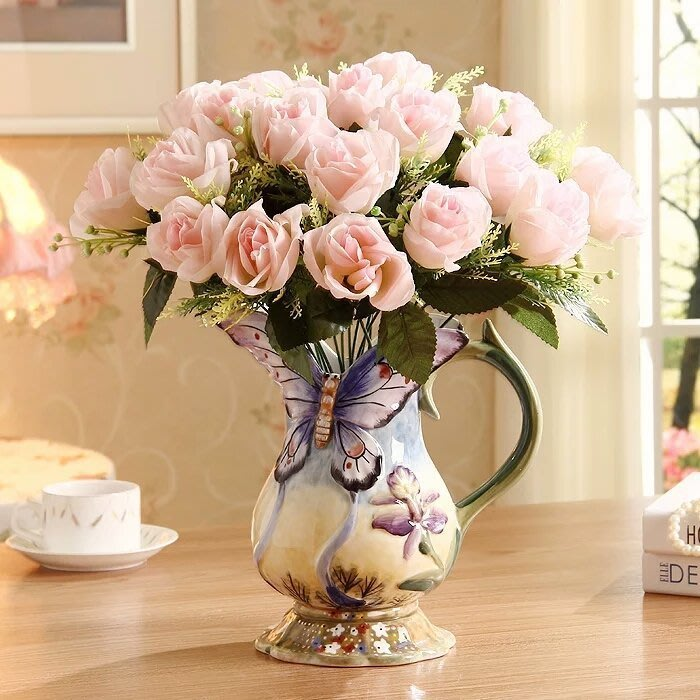 粉紅玫瑰精品屋~方亞陶瓷浮雕蝴蝶花創意花瓶~