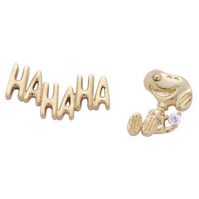 SNOOPY 史努比 史奴比 10K金 鑽石 耳環 HAHAHA&Laughing 日本原裝進口