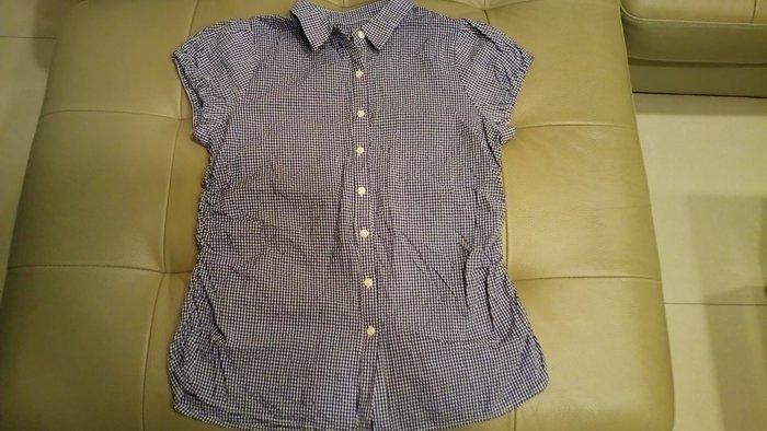 黑白格子公主包袖襯衫~腰身旁抓皺~ S~XL水水~ 790
