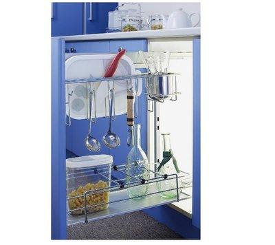 ╭☆魔法廚房☆F8320-1G系統櫥櫃內專用刀具砧板調味瓶小側拉籃 屜頭式 附塑膠底盤
