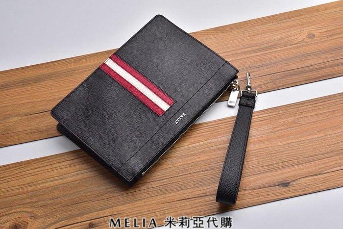 Melia 米莉亞代購 bally 貝利 2108新款 春季新品 男士款 荔枝紋 手掌紋 手拿包 公事包 黑色