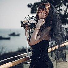 黑色頭紗女新娘網紅拍照道具復古暗黑頭紗頭飾超仙森系韓式短款 阿呆小店