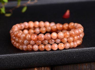 天然金髮太陽石多圈水晶手鍊(珠約6mm)