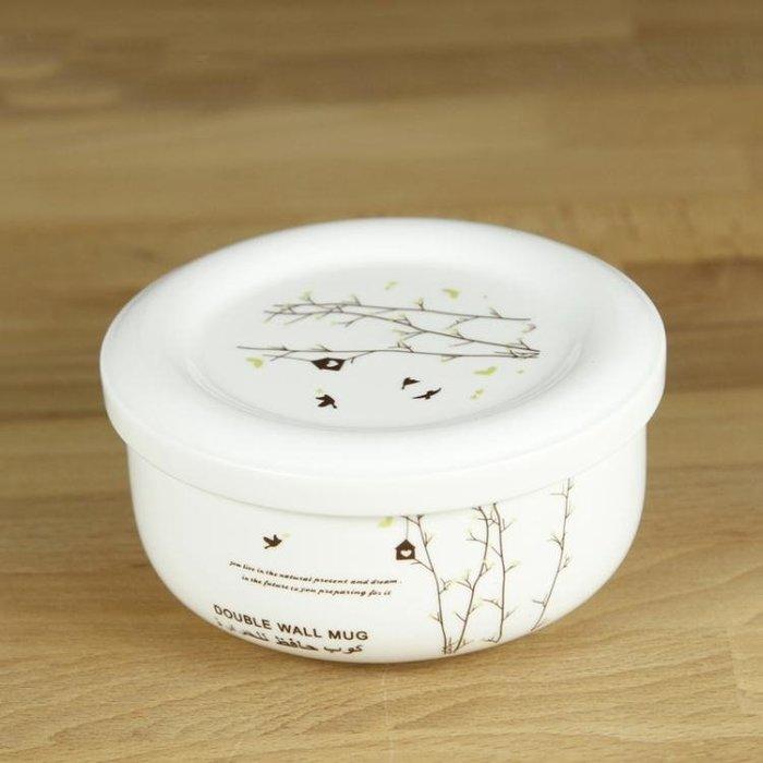 蒸蛋碗瓷碗帶蓋有蓋的碗中號保鮮碗飯碗帶蓋陶瓷碗微波爐Y-優思思