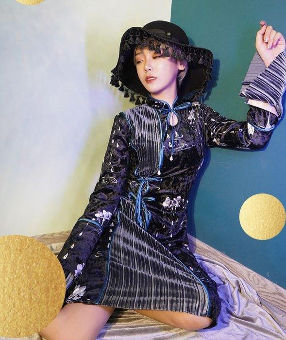 【鳳眼夫人】原創設計訂製款 渺渺 重工設計款時尚修身百褶絲絨拼接長袖綁帶改良旗袍 日常氣質禮服小性感旗袍水滴領百褶洋裝