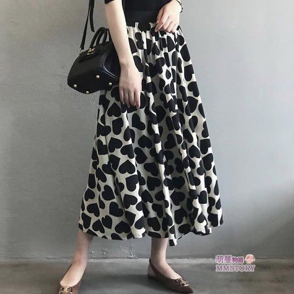 愛心印花中長裙  萌蔓物語【KF0070】韓氣質女裙子