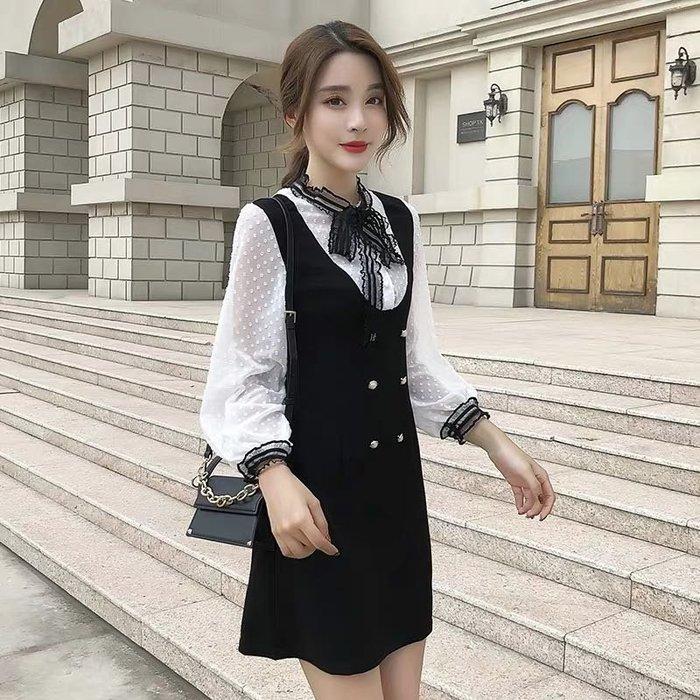 韓版氣質學院風繫帶假兩件連身裙洋裝