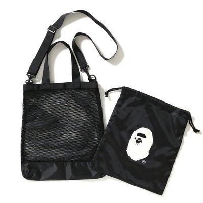 《瘋日雜》日雜A BATHING APE猿人猴斜背包側背包單肩包手提袋+收納束口袋二件組B147