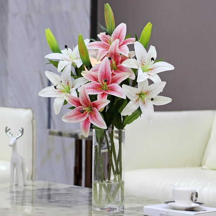 〖洋碼頭〗百合花假花仿真花百合餐桌花瓶客廳擺設仿真花束塑膠室內茶几擺件 wsj163