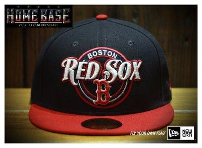 NEW ERA 59FIFTY 【公館HOME BASE專賣店】MLB Boston 紅襪隊 -- 圓徽圖騰刺繡款