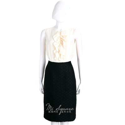 米蘭廣場 Max Mara 米白x黑色荷葉設計拼接絲質無袖洋裝 1720554-37