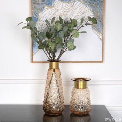 好物多商城 美式北歐客廳餐桌家居裝飾品 創意簡約時尚玻璃金屬筒圈花瓶擺件