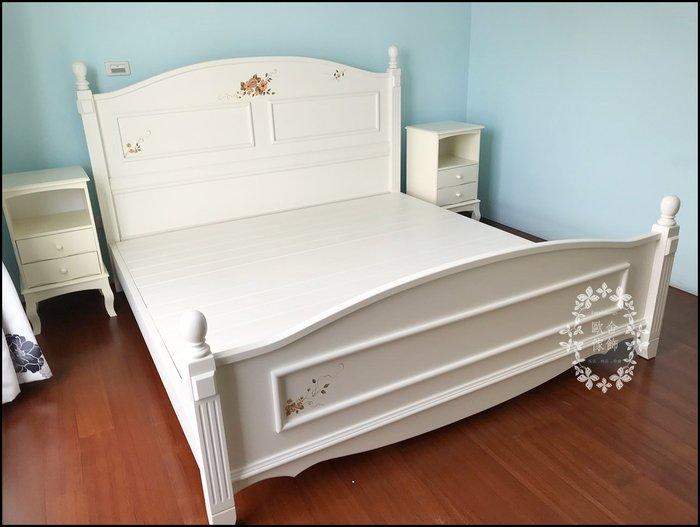 鄉村風 白色實木彩繪玫瑰雙人床架 原木5*6.2標準床架兩人床 另有衣櫃斗櫃床組化妝台房間組台灣製品質感很棒【歐舍家飾】