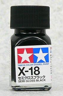 【TAMIYA X-18】油性 模型專用漆 10ml 半光澤黑色