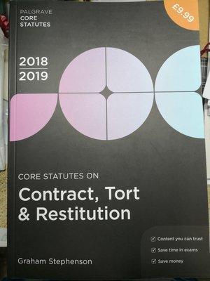 [全新] Core Statutes on Contract, Tort & Restitution 2018-19