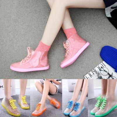 雨鞋女夏  春夏雨靴防滑平跟短筒防水鞋透明糖果水靴水鞋膠鞋   全館免運