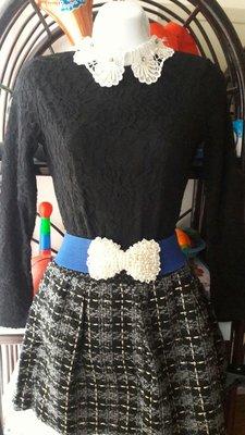 一元起標蕾絲珍珠水鑽領亮蔥毛料套裝