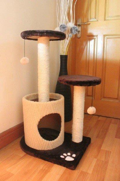【貓用品】出口款 毛絨多層次跳臺貓爬架貓樹 磨爪劍麻抓柱貓抓板