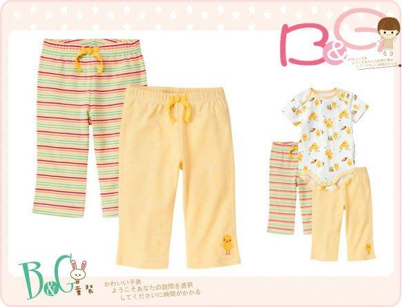 【B& G童裝】正品美國進口GYMBOREE Duck Stripe Pant黃色條紋2件一組薄長褲12-18mos